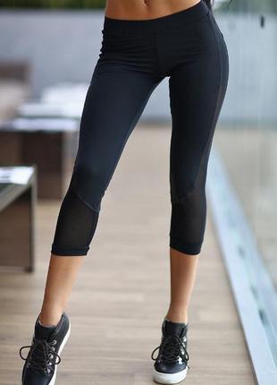 Тайтсы oxylane спортивные бриджы, капри, черные