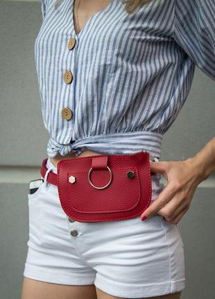 Женская сумка на пояс красного цвета, поясная сумка