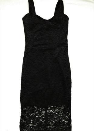 Кружевное платье миди на бретелях, черное