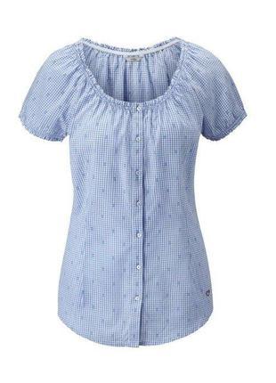 Летняя блуза, рубашка в клетку из био-хлопка от tchibo р 48
