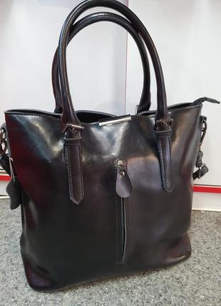 Стильная женская сумка из гладкой натуральной кожи