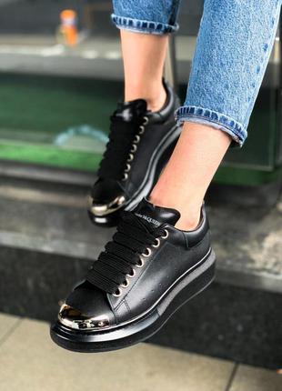 Alexander mcqueen black metal чёрные шикарные женские кроссовк...