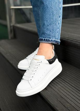 Alexander mcqueen glitter white black шикарные женские кроссов...