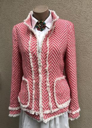 Твид жакет,пиджак,блейзер,стиль шанель,розовый с бахромой,бохо...