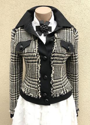 Винтаж,жакет,пиджак,блейзер,куртка,клетка,с бахромой,стиль шан...