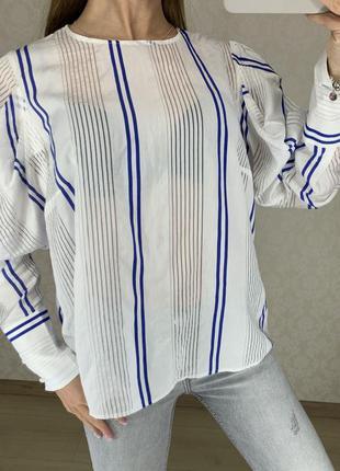 Блуза в полоску с объемными рукавами marks spencer