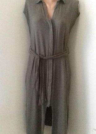 Вискозное платье-рубашка zara