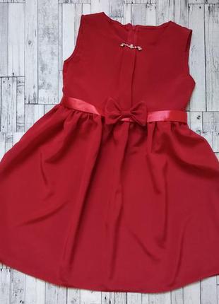 Нарядное красное платье на девочку 6-8 лет
