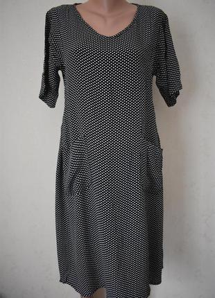 Вискозное платье в горошек