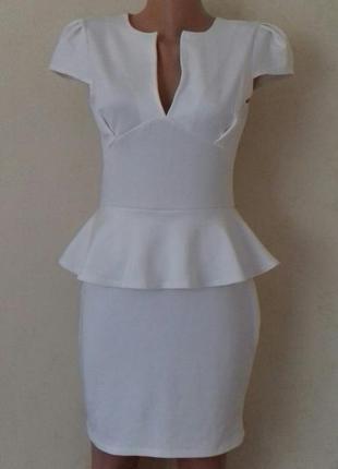 Новое кремовое элегантное платье boohoo