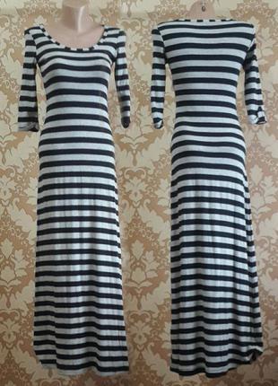 Длинное платье в полоску. stradivarius. размер s - m.