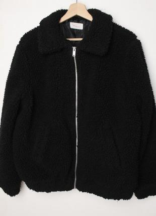 Twin tip шубка тедди курточка черная h&m oversize меховая