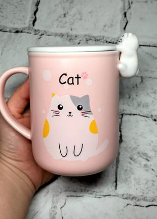 Чашка Котик с крышкой, 400 мл