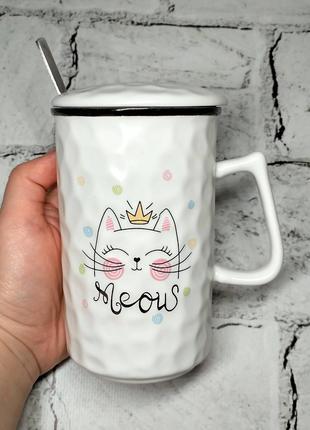 Чашка Кошка с крышкой и ложкой, 350 мл