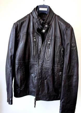Мужская темно-коричневая кожаная куртка  от boss hugo boss
