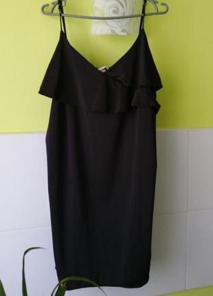 Черное платье на тонких бретелях h&m