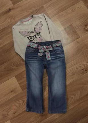 Милые джинсики со стразами и поясом matalan на девочку 3-5 лет