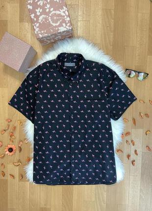 Актуальная рубашка с коротким рукавом принт фламинго №206 max