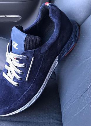Мужские спортивные туфли из натуральной синей замши