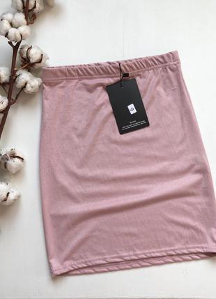 Юбка мини под замшу пудрового розового цвета