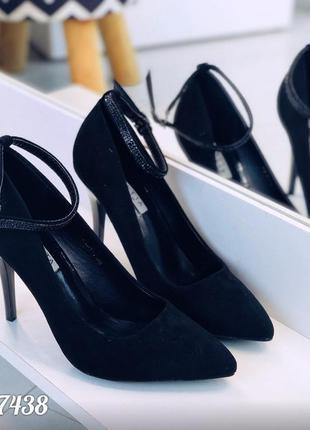 Замшевые туфли лодочки с ремешками,чёрные замшевые туфли на ка...