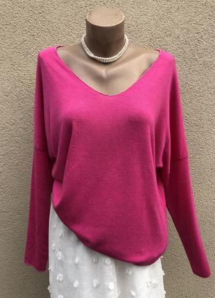 Розовый,малиновый джемпер,вискоза,кофта,лонгслив,пуловер,больш...