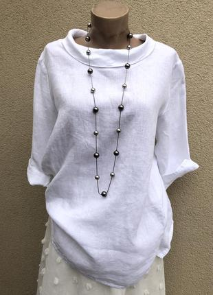 Белая блуза,рубаха,туника ворот хомут,лён,этно бохо стиль,