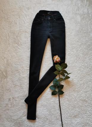 Чёрные джинсы высокая посадка талия размер 34 xs италия