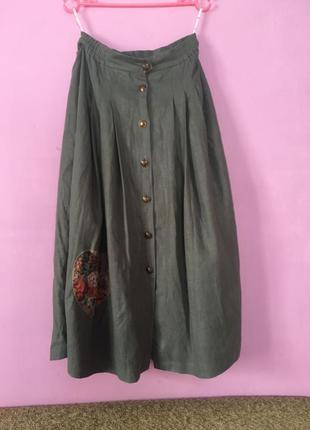 Юбка лён льняная юбочка на пуговицах с карманами