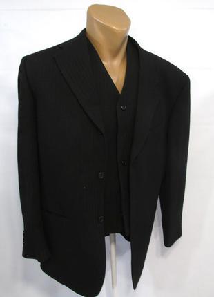 Пиджак + жилет ciro citerio, 38r, woolmark, черный, как новый!