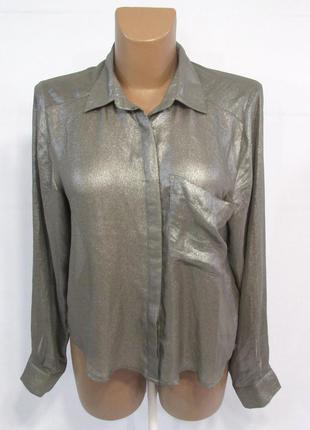 Блузка серебристая h&m, 36 (s), полупрозрачная, отл сост