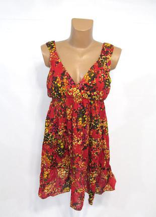Платье красно желтое, легкое, m (46), cotton, отл сост!