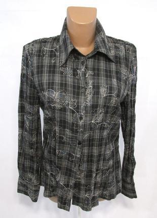 Блузка темная с вышивкой, 38, как новая!
