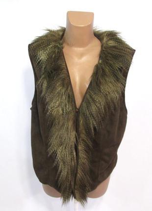 Куртка безрукавка gelina exclusive, 46 (l), штучн мех, коричн,...