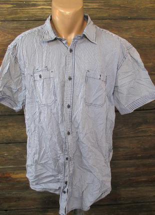 Рубашка angelo litrico, 2xl, синяя полоска, стильная, как новая!