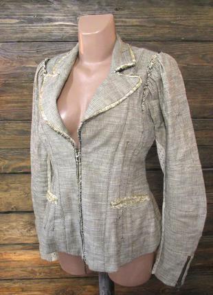 Пиджак tricot, лен, м (12) винтаж, как новый!