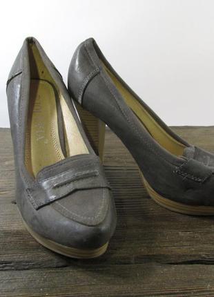 Туфли jolyvia, 36 (23 см), кожзам, мин. сл. носки, серые, хор ...