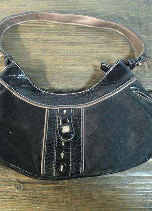 Сумочка стильная liz caliborne, черная, текстильная, как новая!