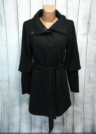 Пальто стильное черное sage, шерсть, дизайн! отл сост!