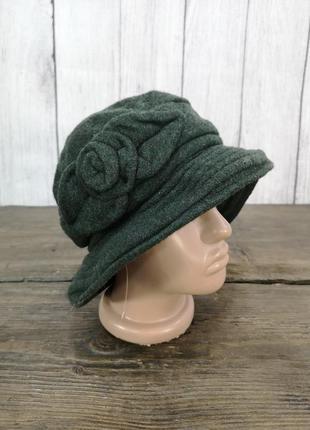 Шляпка теплая, шерстяная, темно зеленая, разм 54-55 см, как но...