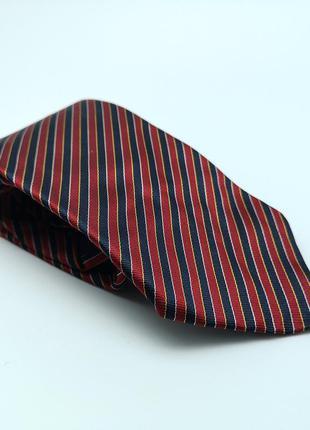 Галстук стильный, фирменный шелковый, бордово синий