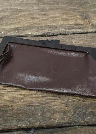 Сумочка клатч коричневая, кожаная, стильная,