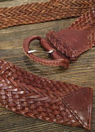 Пояс кожаный плетеный коричневый