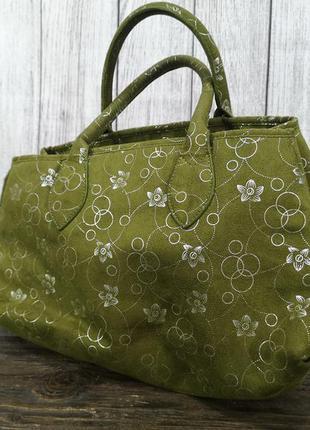 Сумочка стильная зеленая christine kaufmann, кожзам, как новая!