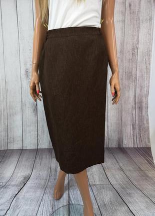 Юбка миди, стильная, коричневая, sensia