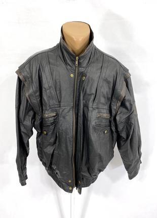 Куртка кожаная черная с отстег. рукавами