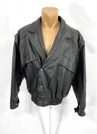 Куртка кожаная creazioni in pelle, italy, косуха с отст рукавами