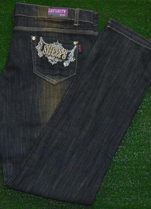 Брендовые женские темные коттоновые прямые джинсы с вышивкой и...