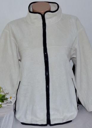 Брендовая флисовая кофта на молнии с карманами