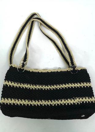 Сумочка стильная плетеная черная со св. желтыми полосками